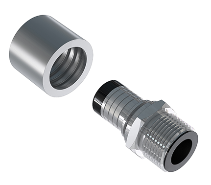 Loose BSPP Fixed Male ENCAP Fitting with a Standard Non-Lined Ferrule
